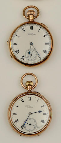 A Victorian 9ct gold open face pocket watch, by J W Benson(2)