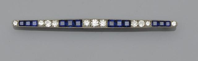 An early 20th century sapphire and diamond bar brooch