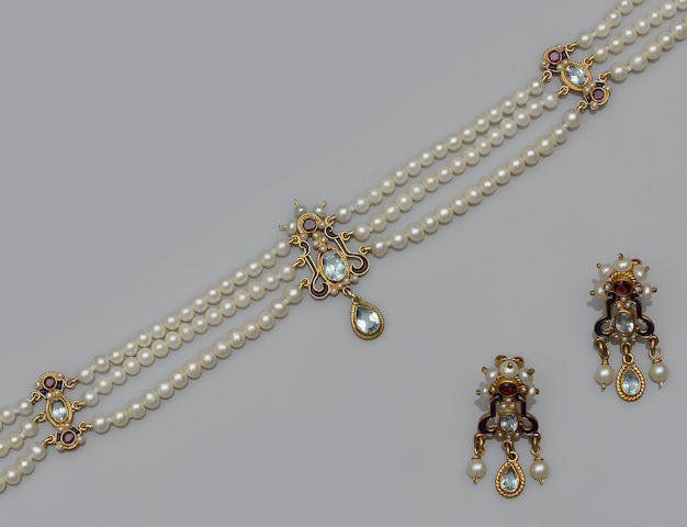 Diego Percossi Papa: a cultured pearl and blue topaz necklace and earring ensuite in the Renaissance taste