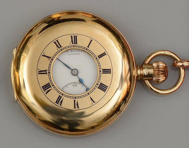 A 9ct gold half hunter pocket watch, by J W Benson, with Albert chain(2)