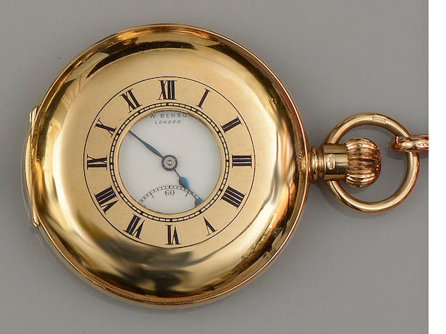 A 9ct gold half hunter pocket watch, by J W Benson, with Albert chain(2)