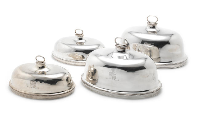 Two pairs of George III silver  meat dish covers By John Wakelin & Robert Garrard, London 1793  (4)