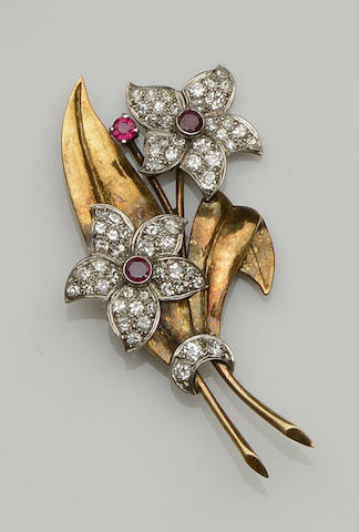 A ruby and diamond floral spray brooch,  circa 1940s/1950s