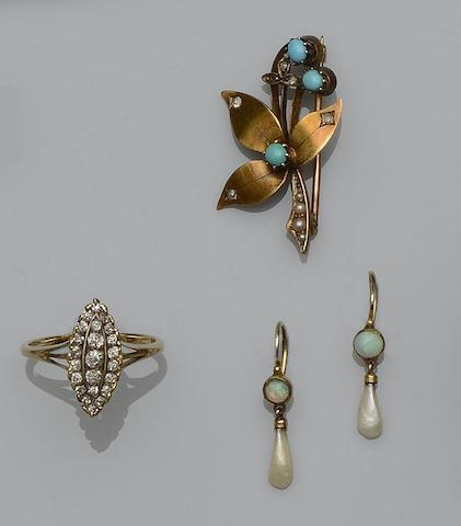 A Victorian turquoise and seed pearl brooch, a diamond marquise-shaped ring, and a pair of pearl and opal earpendants  (3)