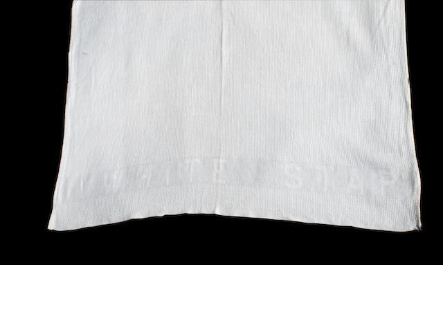 RMS Titanic: a White Star Line hand towel 27x20ins. (67x51cm)