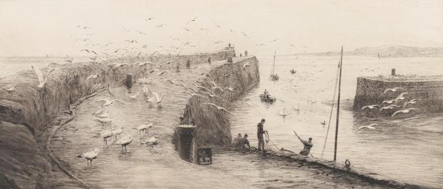 William Lionel Wyllie (British, 1851-1931) Harbour scene