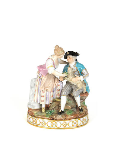 A Meissen figure group of a courting couple Early 20th century