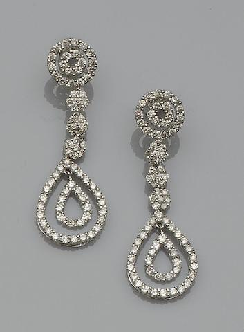 A pair of diamond set earpendants