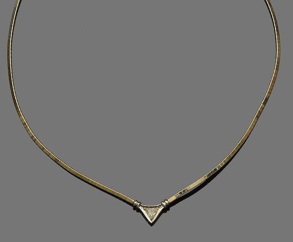 A diamond set pendant necklace