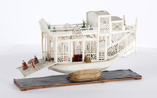 A Canton ivory model of a boat, late 19th century