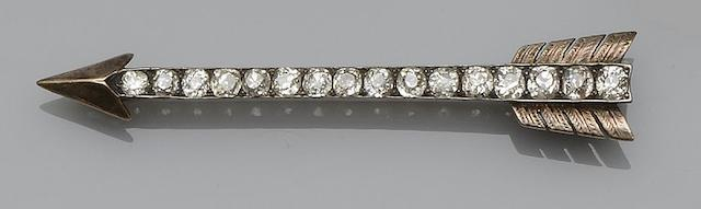 A late 19th century diamond set arrow brooch,