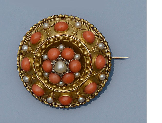 A Victorian coral, diamond and half pearl boss brooch