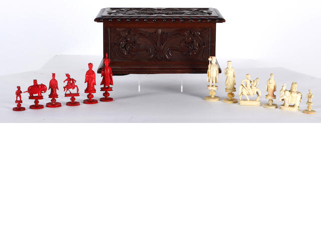 A Chinese Export ivory figural chess set Canton, circa 1830