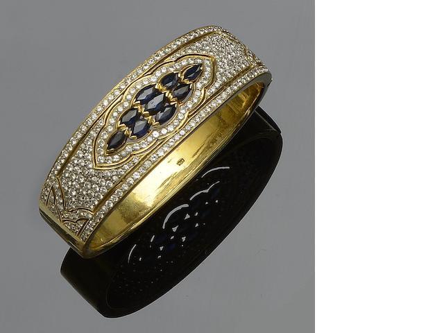 A sapphire and diamond set bangle