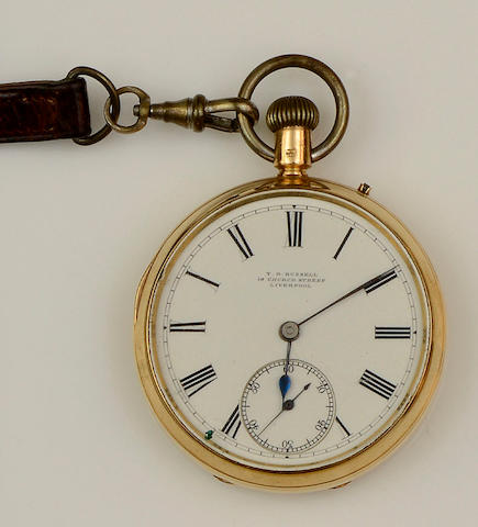 T R Russell, Liverpool: An 18ct gold open face keyless wind pocket watch
