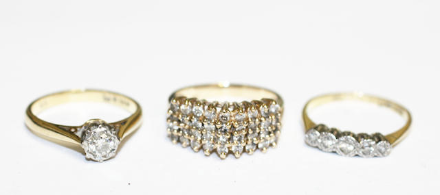 Three diamond set rings, (3)