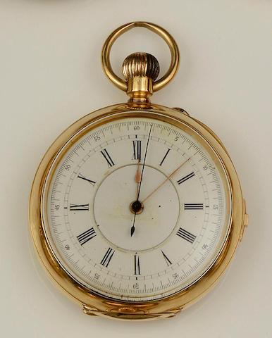 An open face chronograph pocket watch