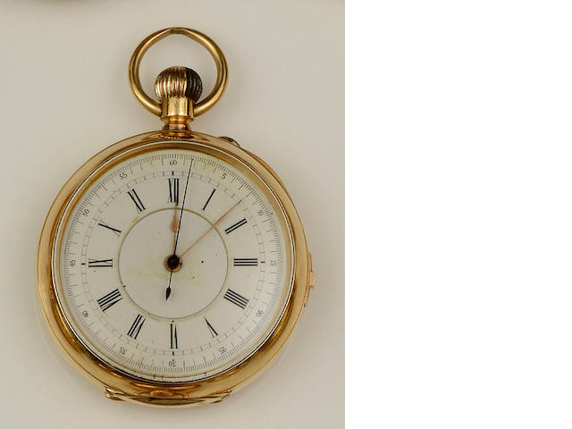 An open face chronograph pocket watch