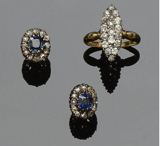 A diamond panel ring and a pair of sapphire and diamond cluster earstuds (2)