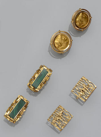Three pairs of cufflinks
