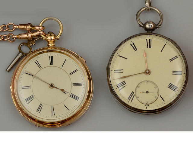 An 18ct gold open face chronograph pocket watch, a silver pocket watch and three chains (5)