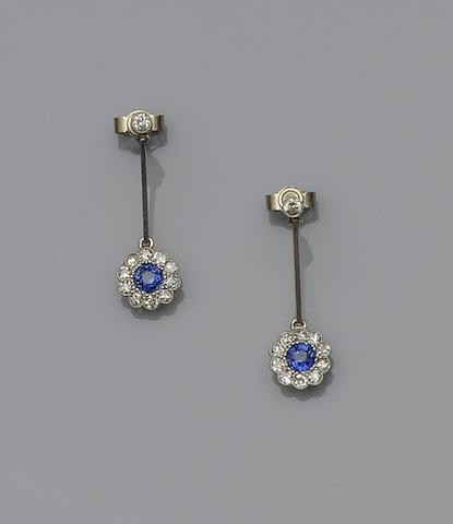 A pair of sapphire and diamond cluster earpendants
