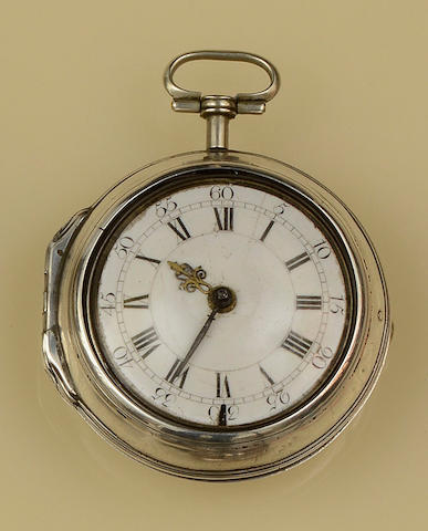 A George III silver pair-cased verge pocket watch by John Markham, London