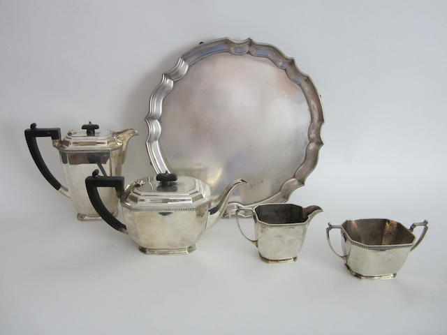 A four piece silver tea and coffee service by Mappin & Webb, Sheffield 1945