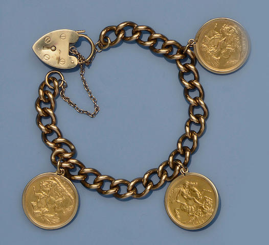 A 9ct gold curb-link chain bracelet