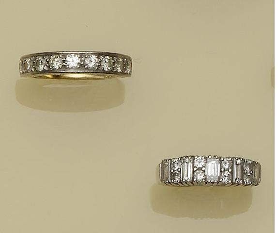 Two diamond set half hoop rings (2)