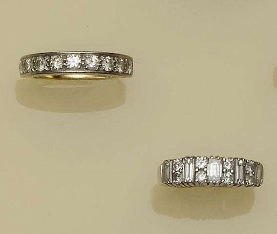 Two diamond set half hoop rings (2)