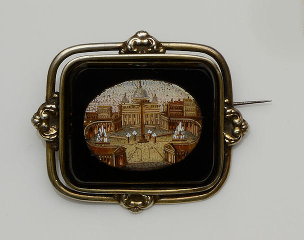 A micro-mosaic brooch of St Peter's Basilica, Rome