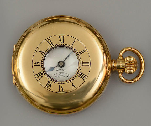 Recta: An 18ct gold half hunter pocket watch