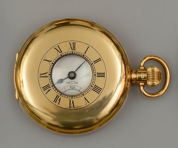 Recta: An 18ct gold half hunter pocket watch