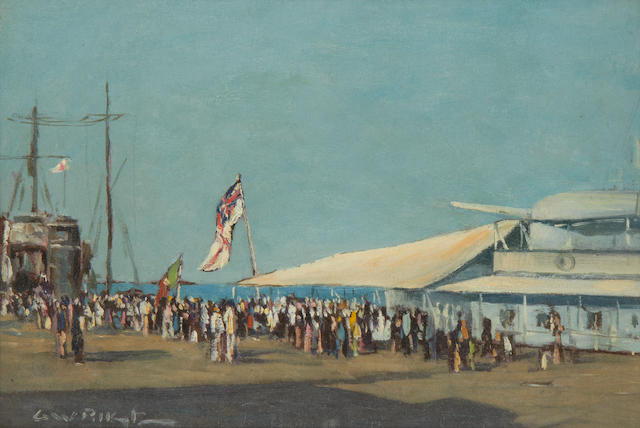 George William Pilkington (South African, 1879-1958) People on the quay by a warship