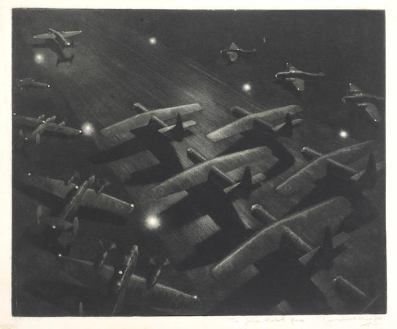 "Lawrence Wright (20th Century) Squadron of bombers taking off at night signed in pencil and inscribed ""to John Arlott"" mezzotint 25 x 30.5cm, and an etching by the same hand ""Hamilton I - Netheravon, 1944"", signed, inscribed and numbered 14/50 in pencil to the margin 21 x 27cm. (unframed). (2)"