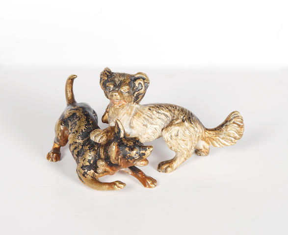 A Viennese cold painted bronze group of puppies