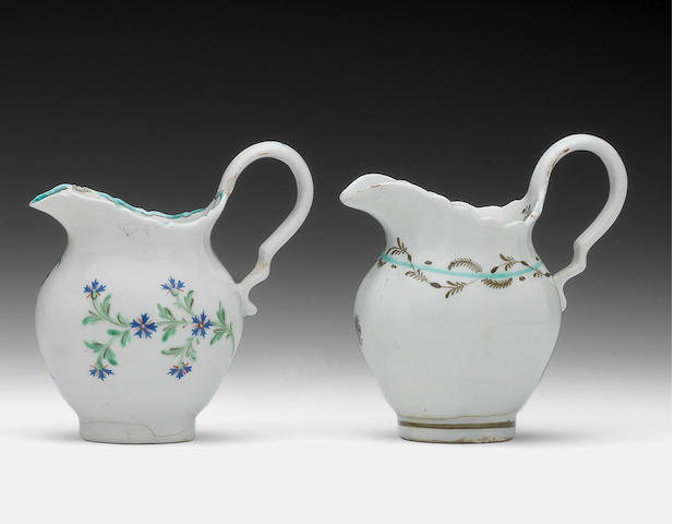 Two rare late Lowestoft cream jugs, circa 1790-95
