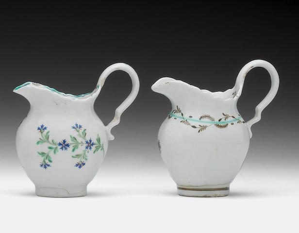 Two rare late Lowestoft cream jugs, circa 1790-95