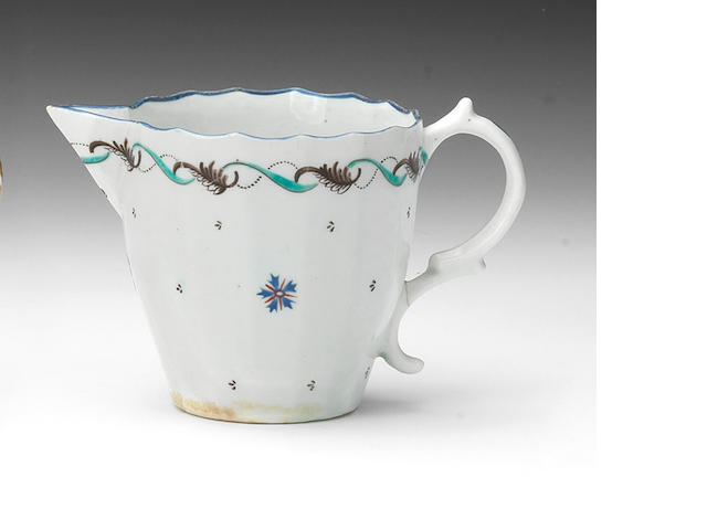A very rare Lowestoft bucket-shaped milk jug, circa 1790