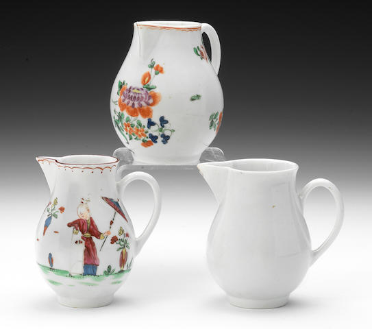 A Bristol sparrow beak jug, Chinese figures in colour, A Plymouth sparrow beak jug, coloured flowers (tiny cracks) and A plain white Bristol sparrow beal jug (chipped)