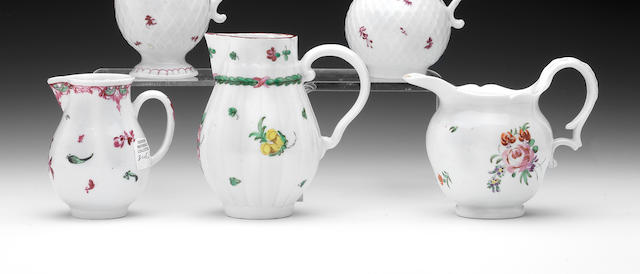 A Champion's Bristol cream ewer and two sparrow beak jugs, circa 1775-80