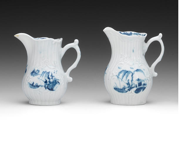 Two Worcester cream jugs, circa 1754-58