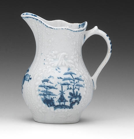A Lowestoft cream jug, circa 1763-65