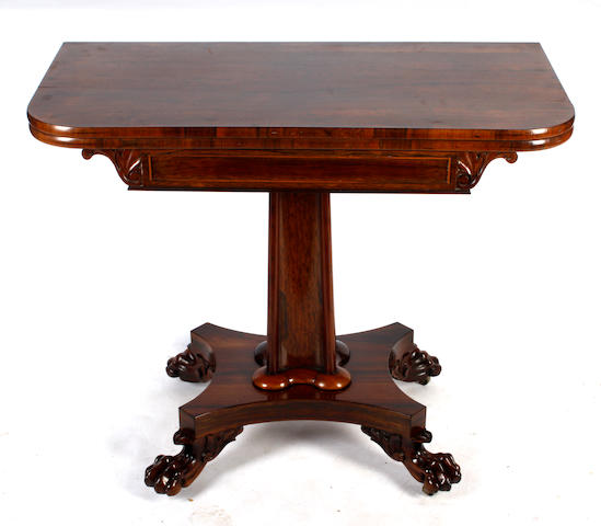 A William IV rosewood tea table