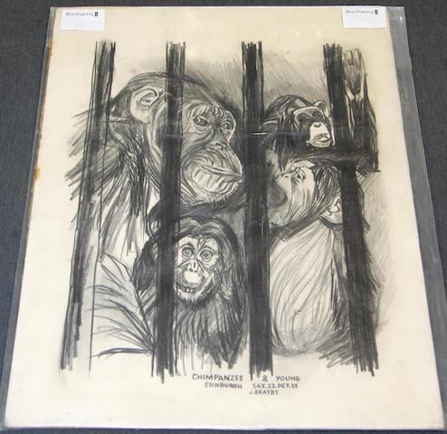 John Bratby R.A. (British, 1928-1992) 'Chimpanzee & Young'
