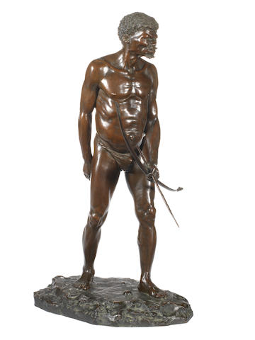 Anton van Wouw (South African, 1862-1945) 'The Bushman Hunter' 50 cm (19 11/16 in) high