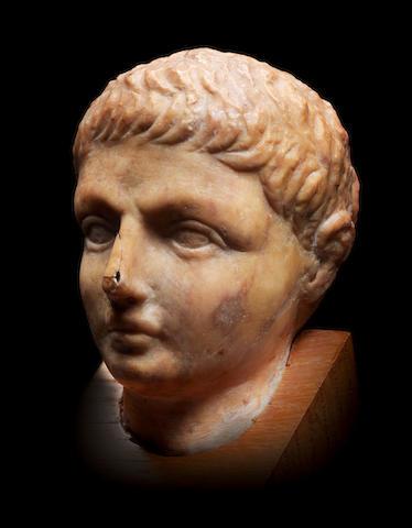 A giallo antico marble head