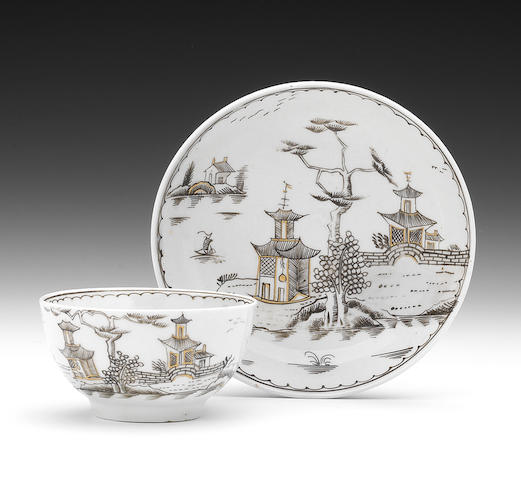 A very rare Lowestoft pencilled teabowl and saucer, circa 1775