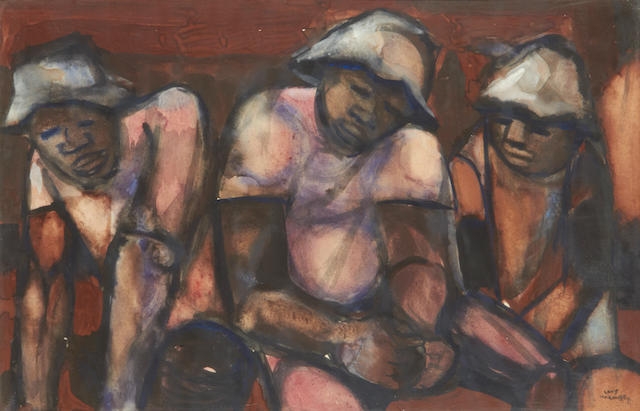 Louis Khela Maqhubela (South African, born 1939) Three miners